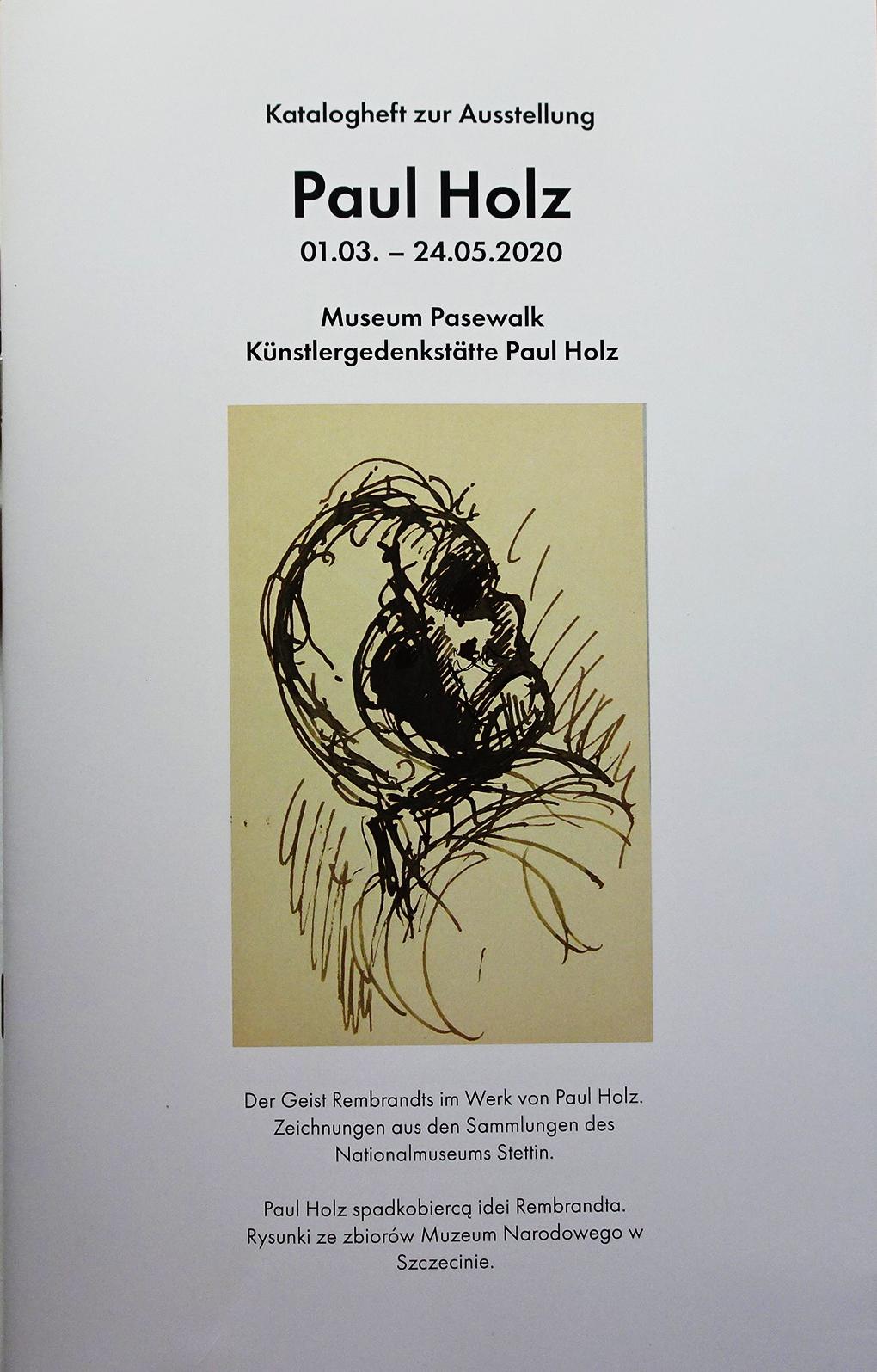Okładka katalogu wystawy z reprodukcją rysunku Paula Holza, Stary mężczyzna oglądający się za siebie, przed 1925, pióro, niebieski atrament, papier, Muzeum Narodowe w Szczecinie, fot. Grzegorz Solecki & Arkadiusz Piętak.