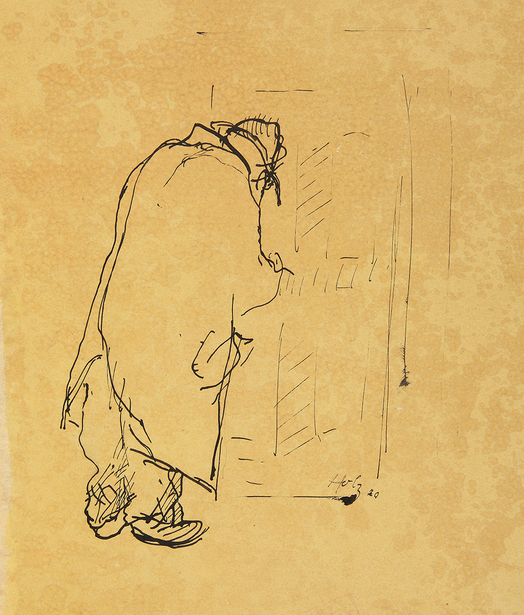 Paul Holz, Mężczyzna w płaszczu przy drzwiach, 1920, pióro, tusz, oliwkowy papier, Muzeum Narodowe w Szczecinie, fot. Grzegorz Solecki&Arkadiusz Piętak