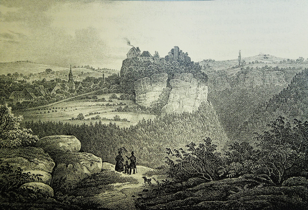 Autor anonimowy, Rodzina na spacerze, około 1850, litografia na kremowym tle, reprodukcja w: Werner Liersch, Das romantische Gebirge. Auf alten Wegen durch die Sächsische Schweiz (Romantyczne góry. Dawnymi szlakami przez Saską Szwajcarię), Chemnitz 2001, s. 84