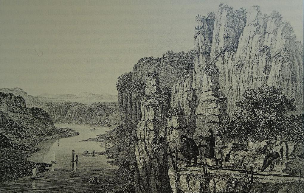 Autor anonimowy, Kanapa pod Bastei, 1852, rycina, reprodukcja w: Werner Liersch, Das romantische Gebirge. Auf alten Wegen durch die Sächsische Schweiz (Romantyczne góry. Dawnymi szlakami przez Saską Szwajcarię), Chemnitz 2001, s. 62