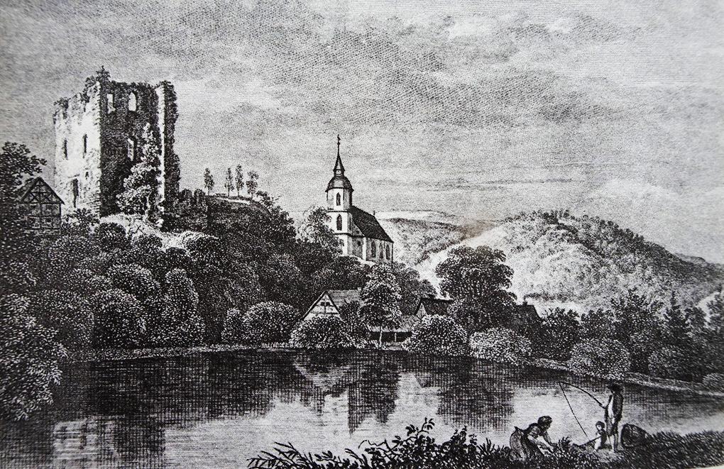 Autor anonimowy, Widok Tharandt z ruiną zamku na wzgórzu, pierwsza połowa XIX wieku, akwaforta, własność prywatna