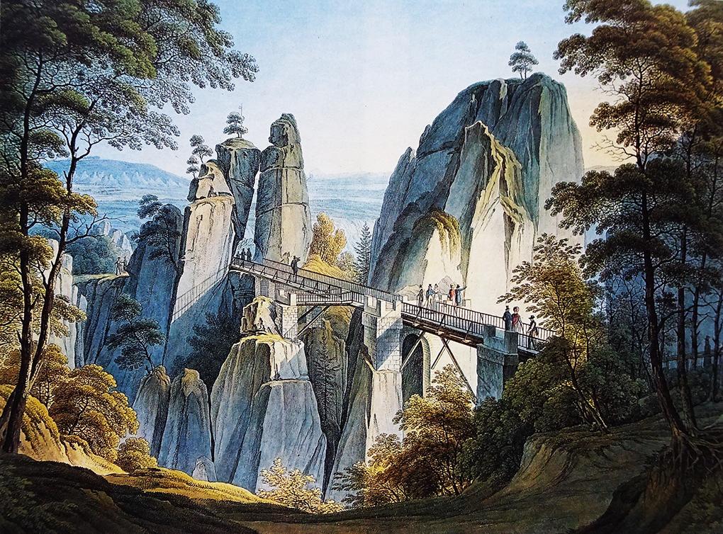 Christian Gottlob Hammer, Widok skał Bastei od strony gór, 2 ćwierć XIX wieku, akwaforta barwna, reprodukcja w: Die Elbe. Ein Lebenslauf, Deutsches Historisches Museum Berlin 1992, s. 236-237
