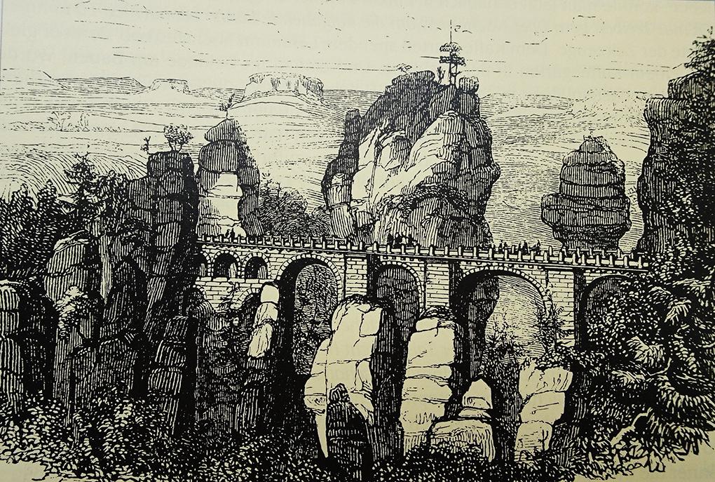 Autor anonimowy, Nowy most na Bastei, około 1851, rycina, reprodukcja w: Werner Liersch, Das romantische Gebirge. Auf alten Wegen durch die Sächsische Schweiz (Romantyczne góry. Dawnymi szlakami przez Saską Szwajcarię), Chemnitz 2001, s. 23