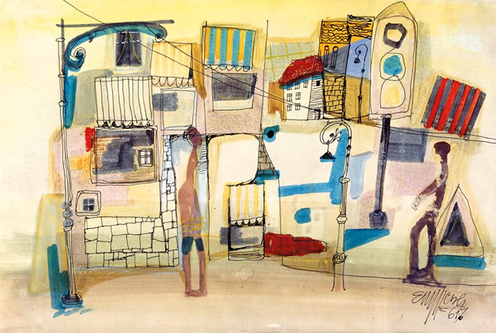 Emanuel Messer (1914 Praga / Prag / Prague – 1970 Szczecin / Stettin), Szczecin / Stettin, 1961, akwarela, papier / Aquarell, Papier / watercolour, paper, 22 × 33 cm, własność prywatna / Privatbesitz / private property