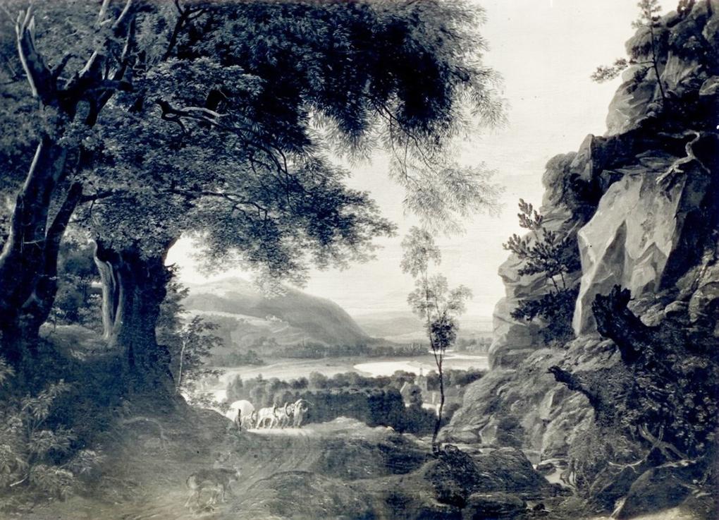 Ludwig Most, Wąwóz w okolicy Loschwitz z widokiem na Łabę, 1833, olej na płótnie, fotografia w katalogu Petera Paula Mosta, Die Bilder des Malers Ludwig Most, Hannover 1937, nr 31, s. 7a.