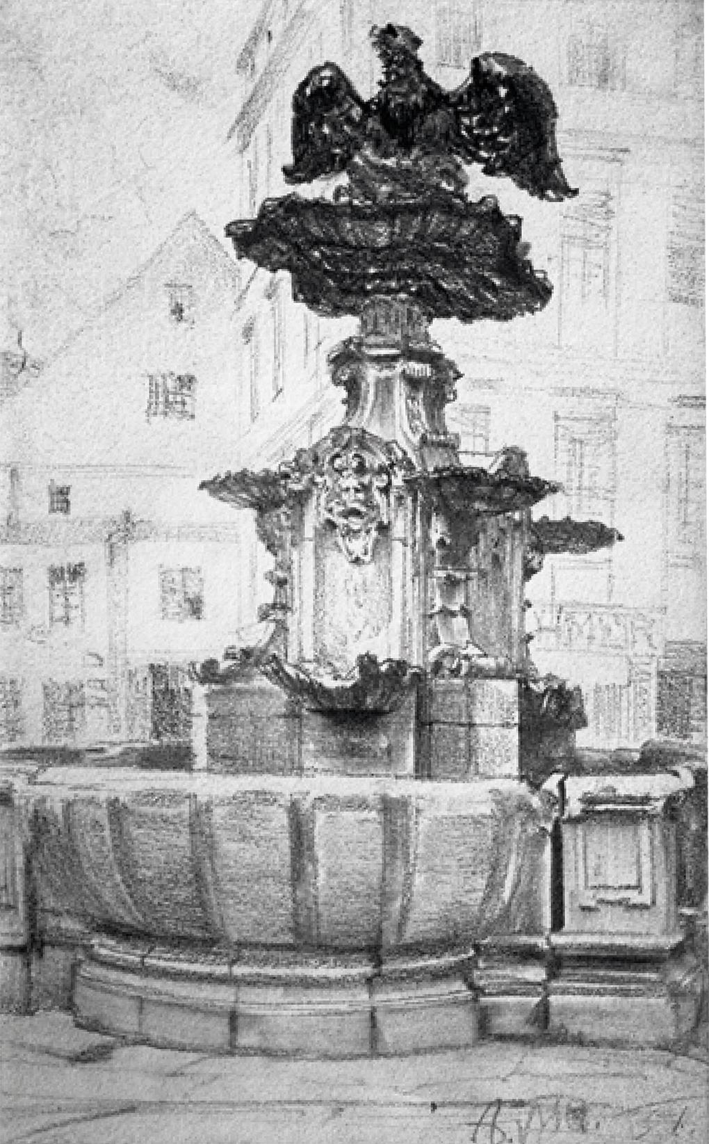 Adolf Menzel (1815 Wrocław / Breslau – 1905 Berlin), Fontanna z 1732 roku na tle zabudowy Rossmarkt (obecnie pl. Orła Białego) / Der alte Brunnen auf dem Rossmarkt (jetzt pl. Orła Białego) von 1732 / Fountain from 1732 against the Background of Rossmarkt (present Pl. Orła Białego), 1851, czarna kredka, papier / schwarze Kreide, Papier / black pencil, paper, 19,5 × 12,5 cm, Muzeum Miejskie w Szczecinie (do 1945) / Museum der Stadt Stettin (bis 1945) / The Municipal Museum in Stettin (until 1945)
