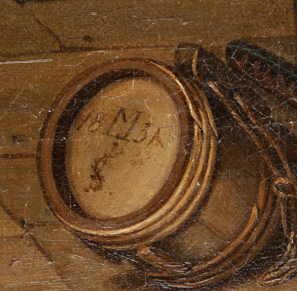 Theodor Gerhard, kopia według Ludwiga Mosta, Scena w karczmie, 1831, olej na płótnie, sygnatura Mosta, własność Antykwariat Marek Wyłupek, Szczecin