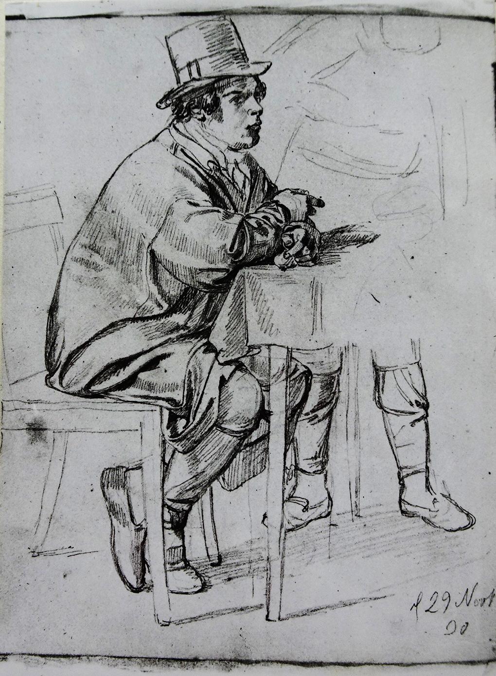 Ludwig Most, Studium gościa siedzącego za stołem, 29 listopada 1830, ołówek, papier welinowy, rysunek w szkicowniku nr II, karta 2, odwrocie, Muzeum Narodowe w Szczecinie