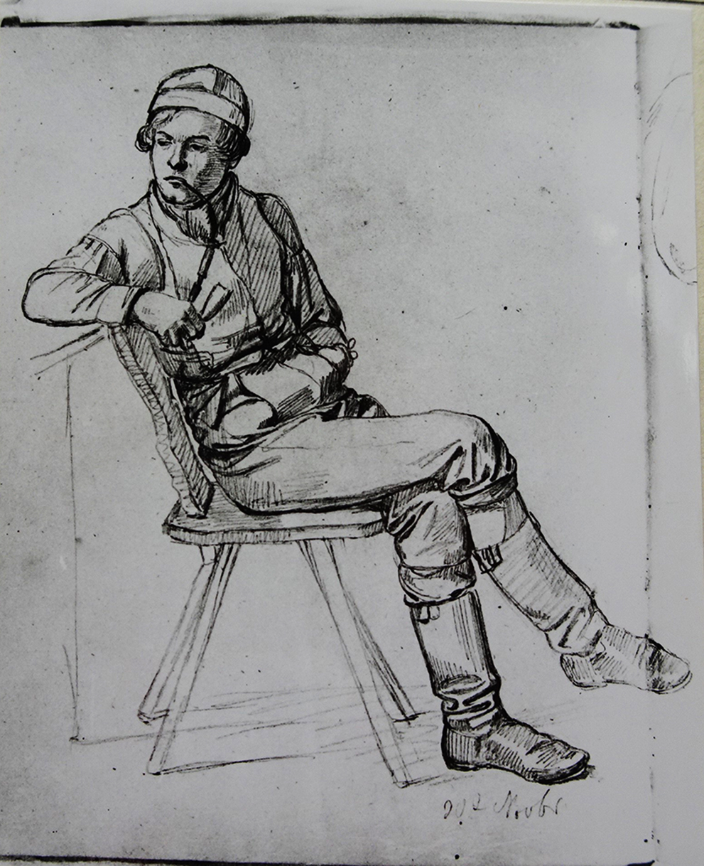 Ludwig Most, Studium gościa palącego fajkę, 30 listopada 1830, ołówek, papier welinowy, rysunek w szkicowniku nr II, karta 3, odwrocie, Muzeum Narodowe w Szczecinie