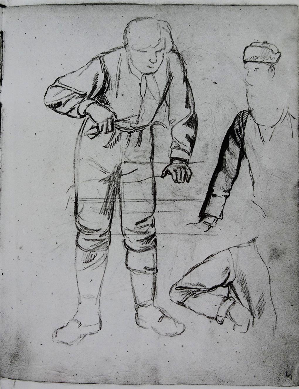 Ludwig Most, Studium kelnera, niedatowany, 29/30 listopada 1830? ołówek, papier welinowy, rysunek w szkicowniku nr II, karta 3, Muzeum Narodowe w Szczecinie
