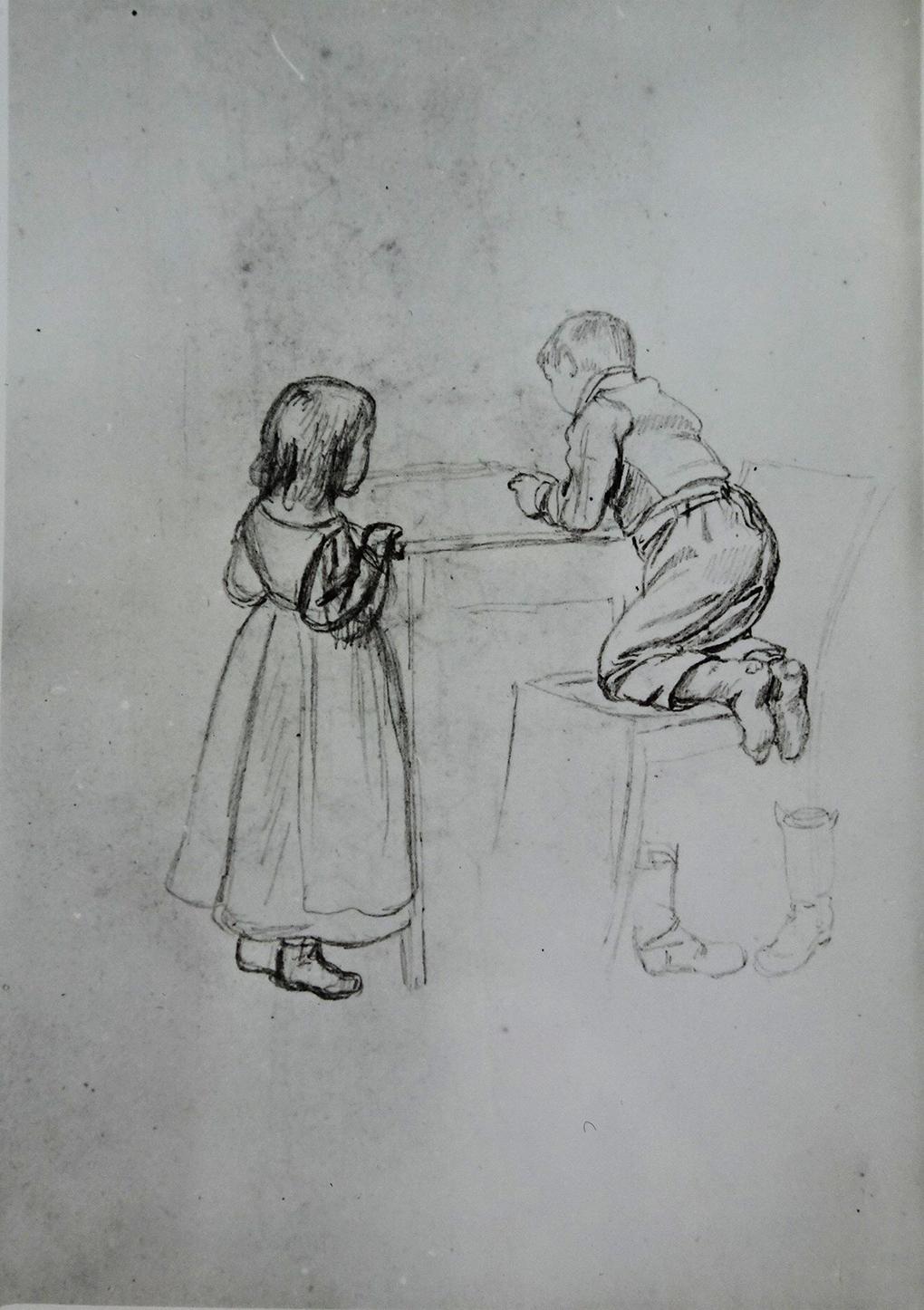 Ludwig Most, Dwoje dzieci przy stole, niedatowany, ołówek, papier welinowy, rysunek w szkicowniku nr II, karta 6, odwrocie, Muzeum Narodowe w Szczecinie