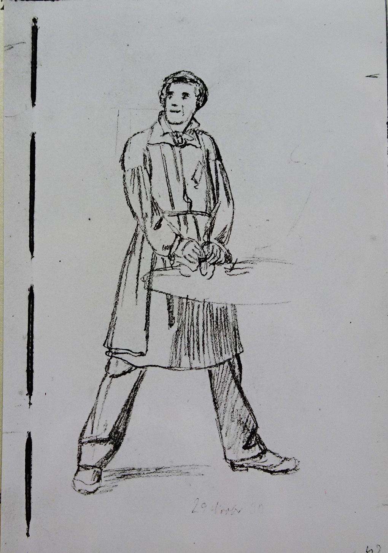 Ludwig Most, Studium studenta, 29 listopada 1830, ołówek, papier welinowy, rysunek w szkicowniku nr III, karta 42, Muzeum Narodowe w Szczecinie