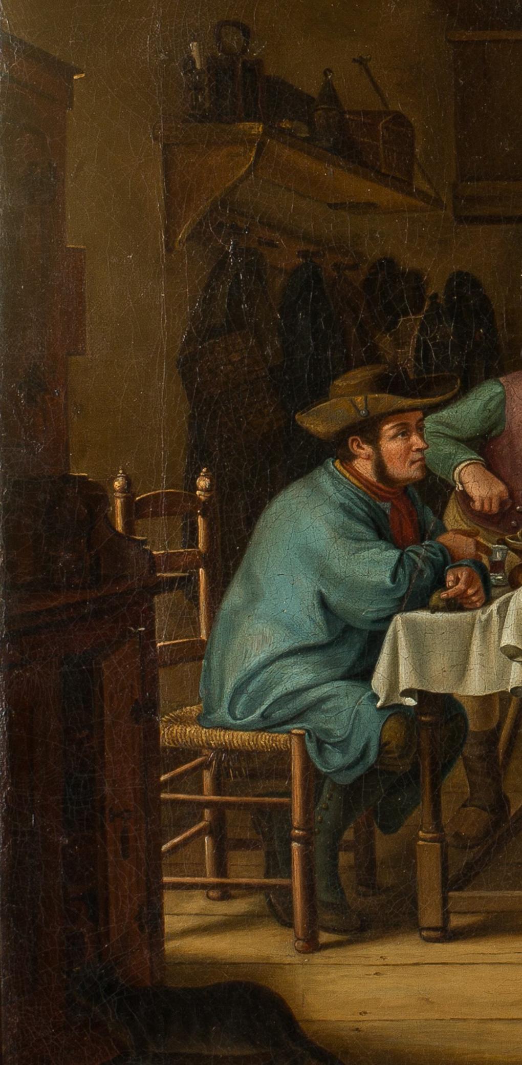 Theodor Gerhard, kopia według Ludwiga Mosta, Scena w karczmie, lewy fragment, 1831, olej na płótnie, własność Antykwariat Marek Wyłupek, Szczecin