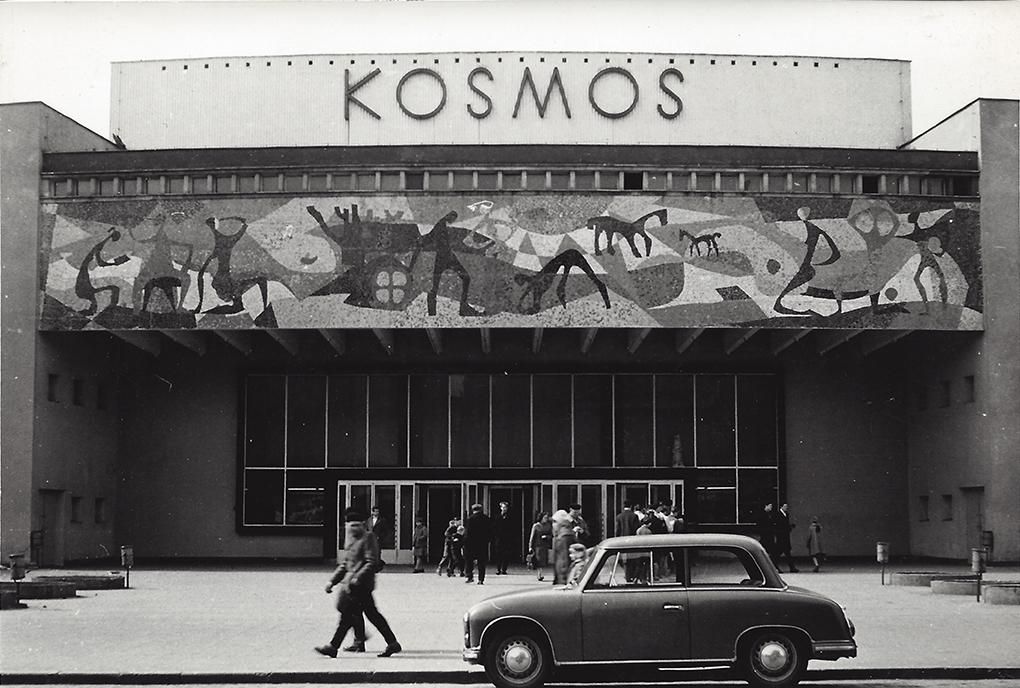 Sławomir Lewiński, współpraca Emanuel Messer /in cooperation with Emanuel Messer/ mozaika na elewacji kina Kosmos /mosaic on the facade of the Kosmos cinema/ 1959, al. Wojska Polskiego 8, Szczecin