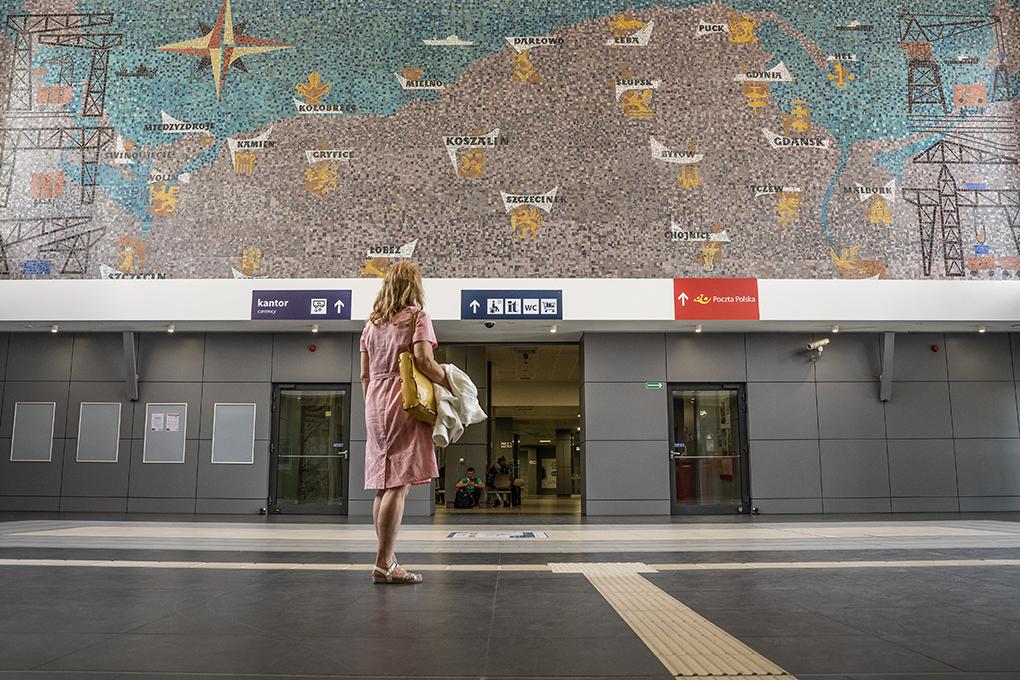 Sławomir Lewiński, mozaika w holu Dworca Głównego /Mosaic in the hall of the Main Railway Station/lata 70. XX w. /1970s/ ul. Kolumba, Szczecin