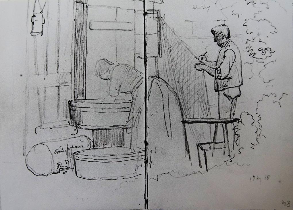 Ludwig Most, Rybak i jego żona przy pracy przed domem, 7.08.1858, ołówek, papier welinowy, szkicownik nr XII, karta 47 verso-48, Muzeum Narodowe w Szczecinie