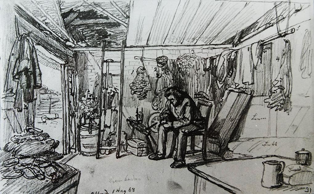 Ludwig Most, Wnętrze chaty rybackiej, 1.08.1868, ołówek, papier welinowy, szkicownik nr XIV, karta 31, Muzeum Narodowe w Szczecinie