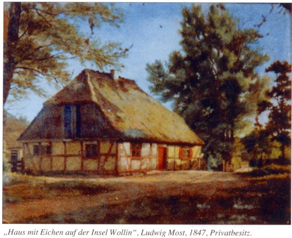 Ludwig Most, Dom pod dębami na wyspie Wolin, 1847, olej na płótnie, własność prywatna