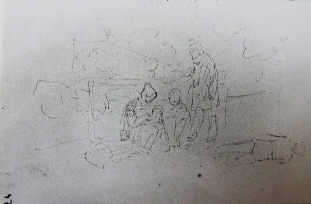 Ludwig Most, Rodzina rybacka na plaży, nie datowany, ołówek, papier welinowy, szkic do jednej z wersji kompozycji Wieczór nad Bałtykiem, szkicownik nr XII, karta 47, Muzeum Narodowe w Szczecinie