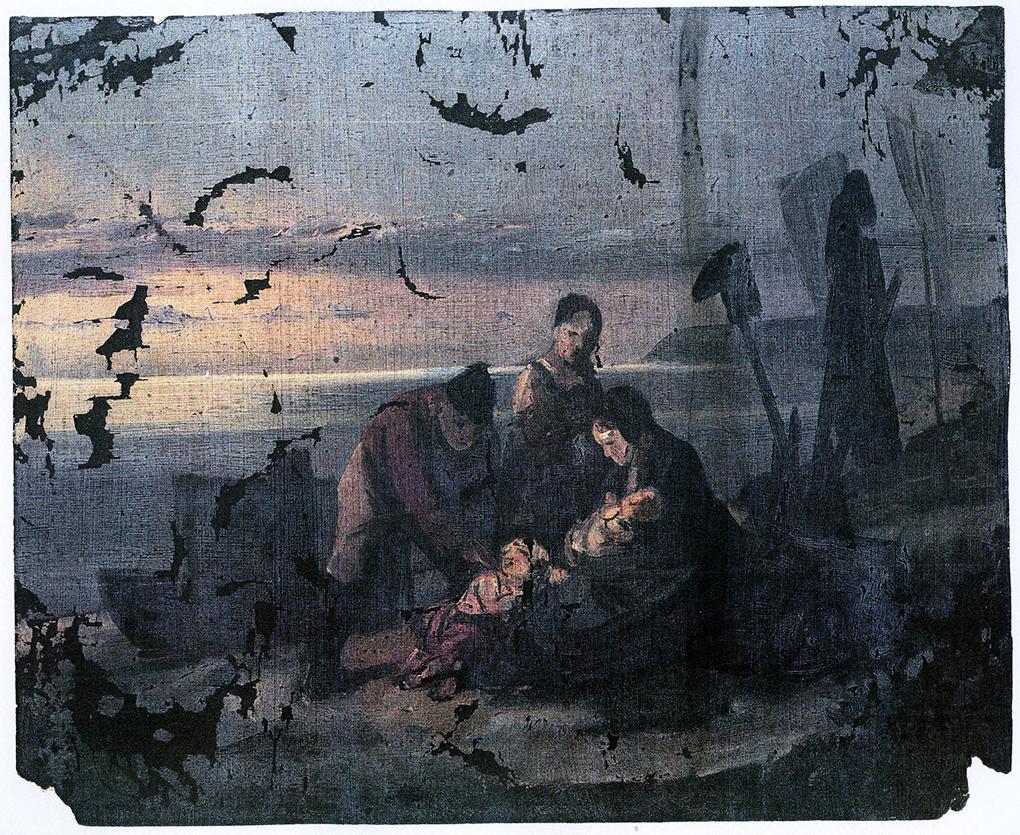 Ludwig Most, Wieczór na bałtyckiej plaży, 1845? Olej na płótnie, studium do obrazu Wieczór na bałtyckiej plaży, teka Mosta, Muzeum Narodowe w Szczecinie
