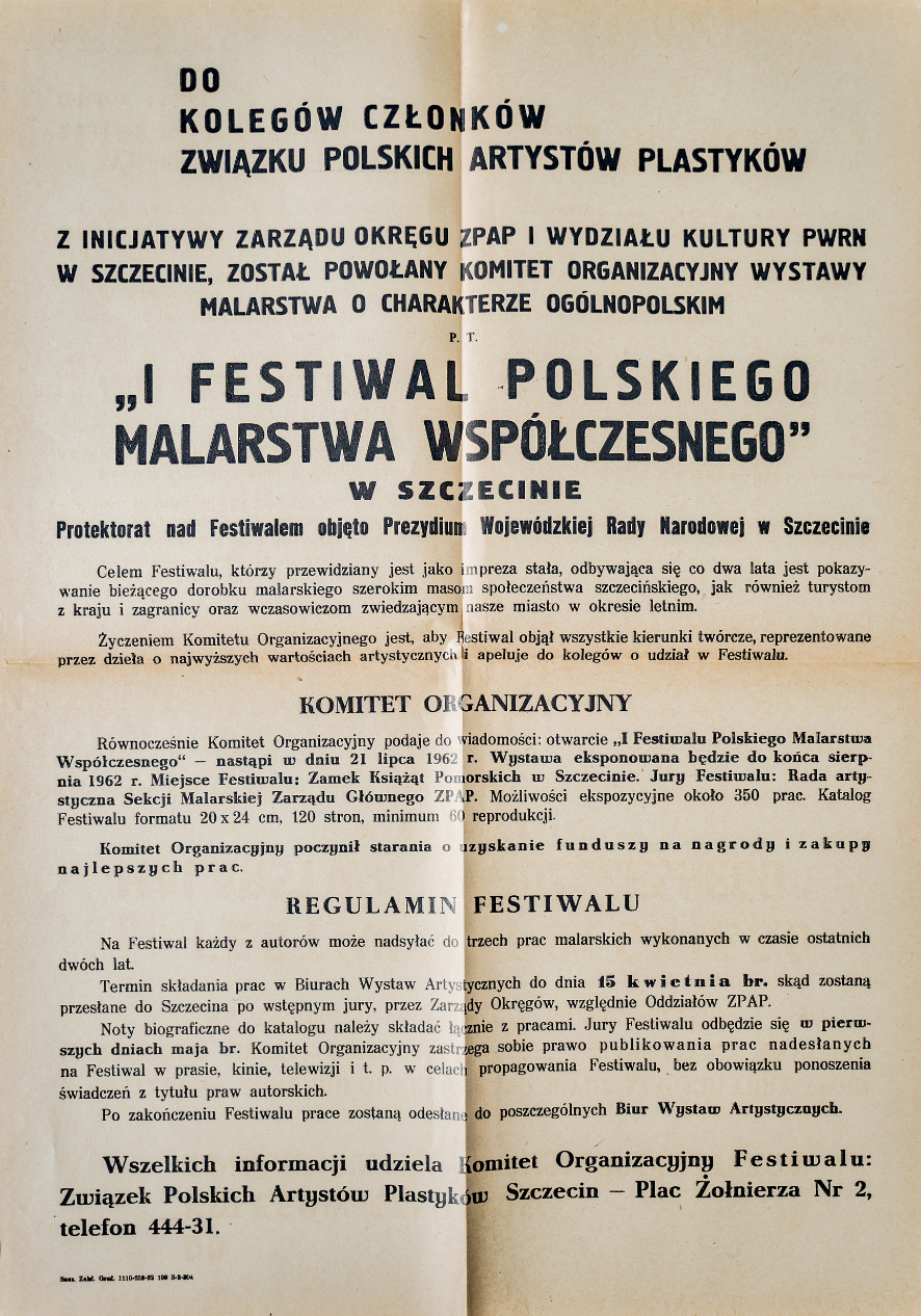 Odezwa do członków ZPAP o powołaniu komitetu organizacyjnego wystawy malarstwa o charakterze ogólnopolskim, Szczecin, 1962/ A call to the members of ZPAP for the establishment of an organizing committee for a national painting exhibition, Szczecin, 1962