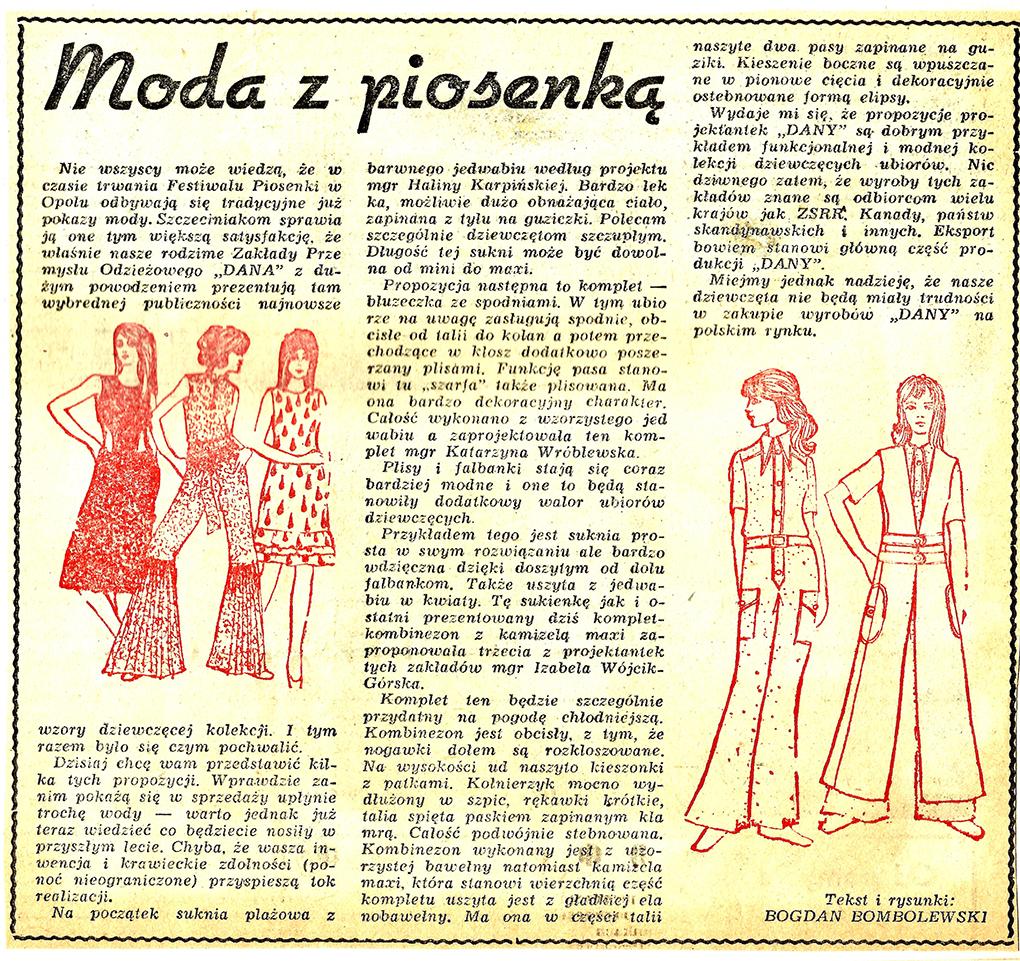 Bogdan Bombolewski jako dziennikarz Głosu Szczecińskiego pisał artykuły o trendach mody w Polsce i za granicą / Bogdan Bombolewski as a journalist of the newspaper Głos Szczeciński, he wrote articles on current fashion trends in Poland and abroad, with his own drawings and illustrations.