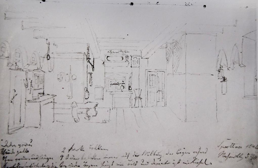 Ludwig Most, Wnętrze izby w Szprotawie, 24.08. 1835, ołówek na papierze welinowym, Szkicownik nr VII, karta 5, Muzeum Narodowe w Szczecinie