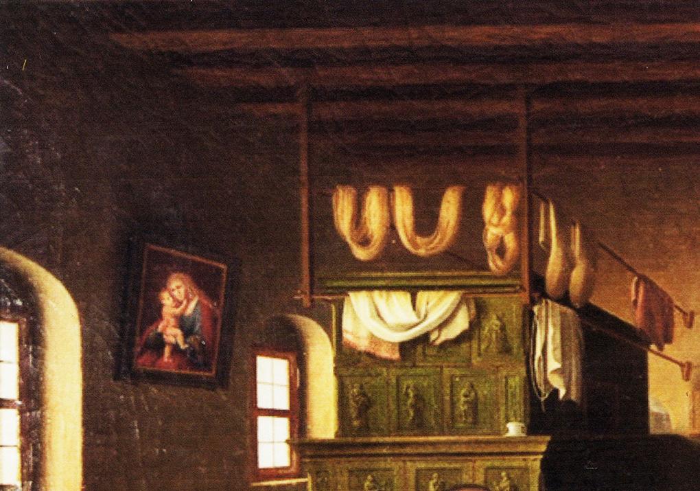 Autor anonimowy, według Ludwiga Mosta, Piec w schronisku, motyw na obrazie Śląskie schronisko górskie, po 1837, olej na płótnie, aukcja firmy auktionata 14.01.2014, reprodukcja aukcyjna w internecie: http://auktionata.com/o/24295/august-ludwig-most-zugeschrieben-bauernstube..../