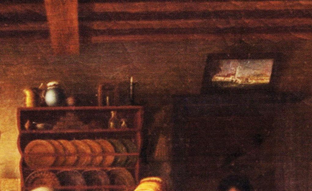 Autor anonimowy, według Ludwiga Mosta, Bufet i obraz w schroniskowej izbie, motyw na obrazie Śląskie schronisko górskie, po 1837, olej na płótnie, aukcja firmy auktionata 14.01.2014, reprodukcja aukcyjna w internecie: http://auktionata.com/o/24295/august-ludwig-most-zugeschrieben-bauernstube..../