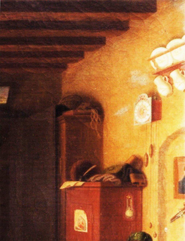 Autor anonimowy, według Ludwiga Mosta, Schroniskowy kąt – lamus, motyw na obrazie Śląskie schronisko górskie, po 1837, olej na płótnie, aukcja firmy auktionata 14.01.2014, reprodukcja aukcyjna w internecie: http://auktionata.com/o/24295/august-ludwig-most-zugeschrieben-bauernstube..../