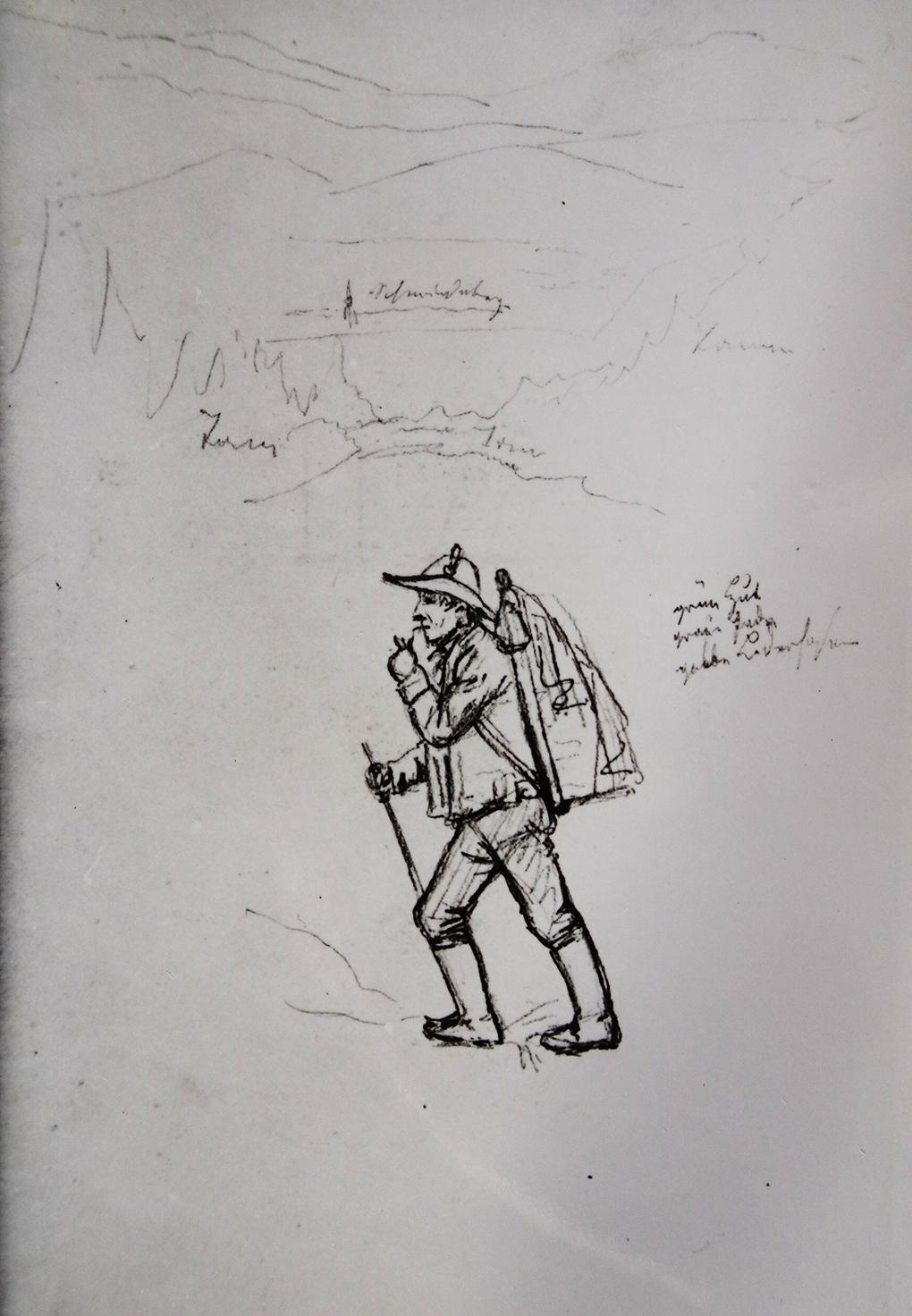 Ludwig Most, Wędrowiec na tle pejzażu Karkonoszy, sierpień 1835, ołówek na papierze welinowym, Szkicownik nr VII, karta 15 verso, Muzeum Narodowe w Szczecinie