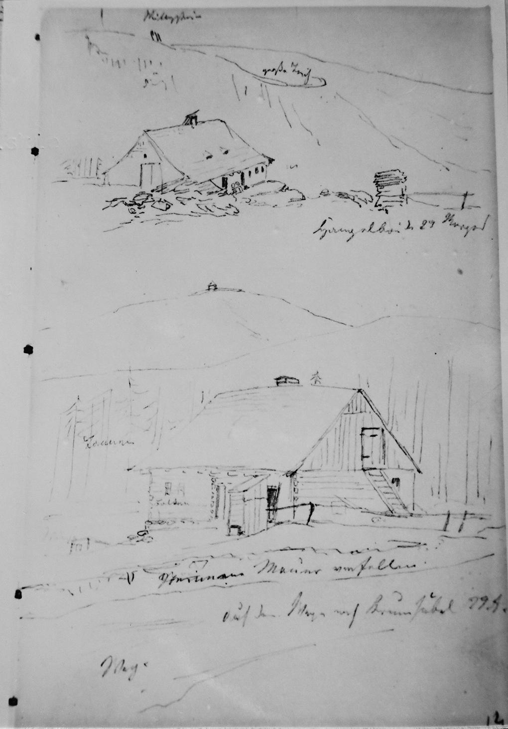 Ludwig Most, Dwa schroniska w Karkonoszach, 29.08.1835, ołówek na papierze welinowym, Szkicownik nr VII, karta 14, Muzeum Narodowe w Szczecinie