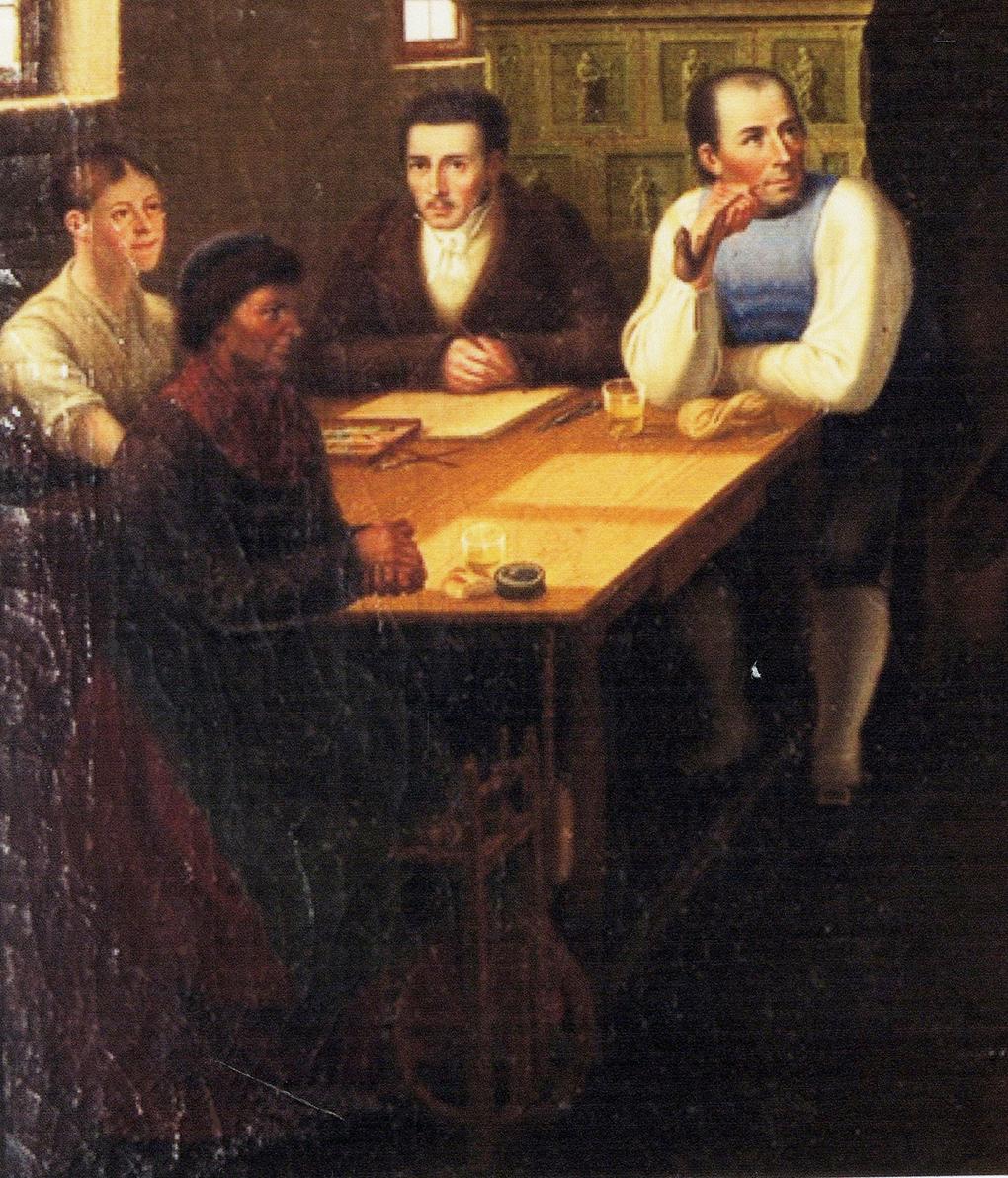 Autor anonimowy, według Ludwiga Mosta, Grupa siedząca przy oknie, motyw na obrazie Śląskie schronisko górskie, po 1837, olej na płótnie, aukcja firmy auktionata 14.01.2014, reprodukcja aukcyjna w internecie: http://auktionata.com/o/24295/august-ludwig-most-zugeschrieben-bauernstube..../