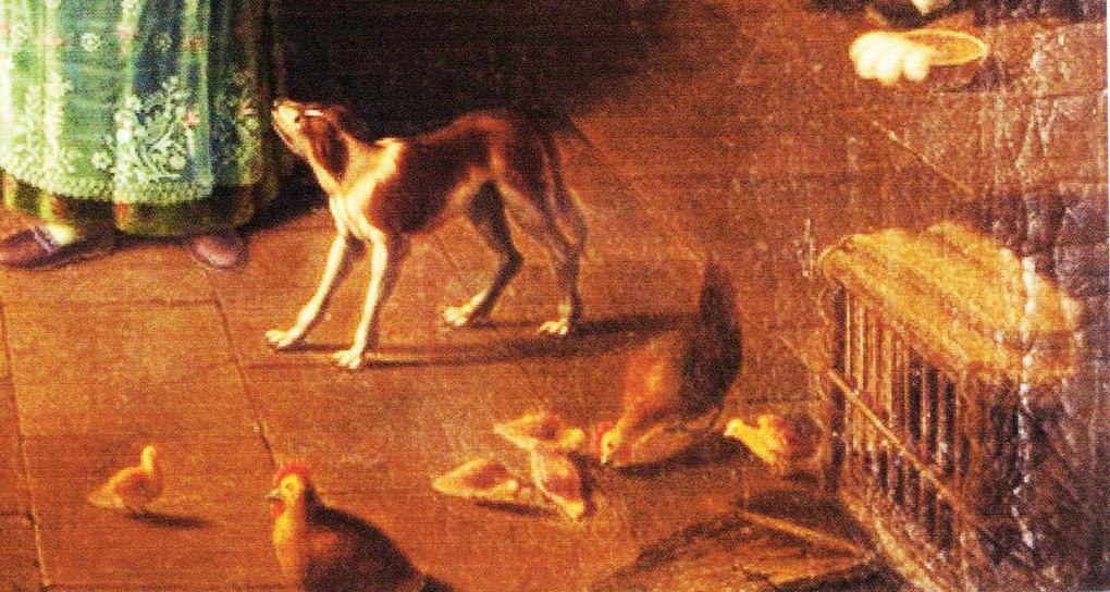 Autor anonimowy, według Ludwiga Mosta, Zwierzęta domowe, motyw na obrazie Śląskie schronisko górskie, po 1837, olej na płótnie, aukcja firmy auktionata 14.01.2014, reprodukcja aukcyjna w internecie: http://auktionata.com/o/24295/august-ludwig-most-zugeschrieben-bauernstube..../