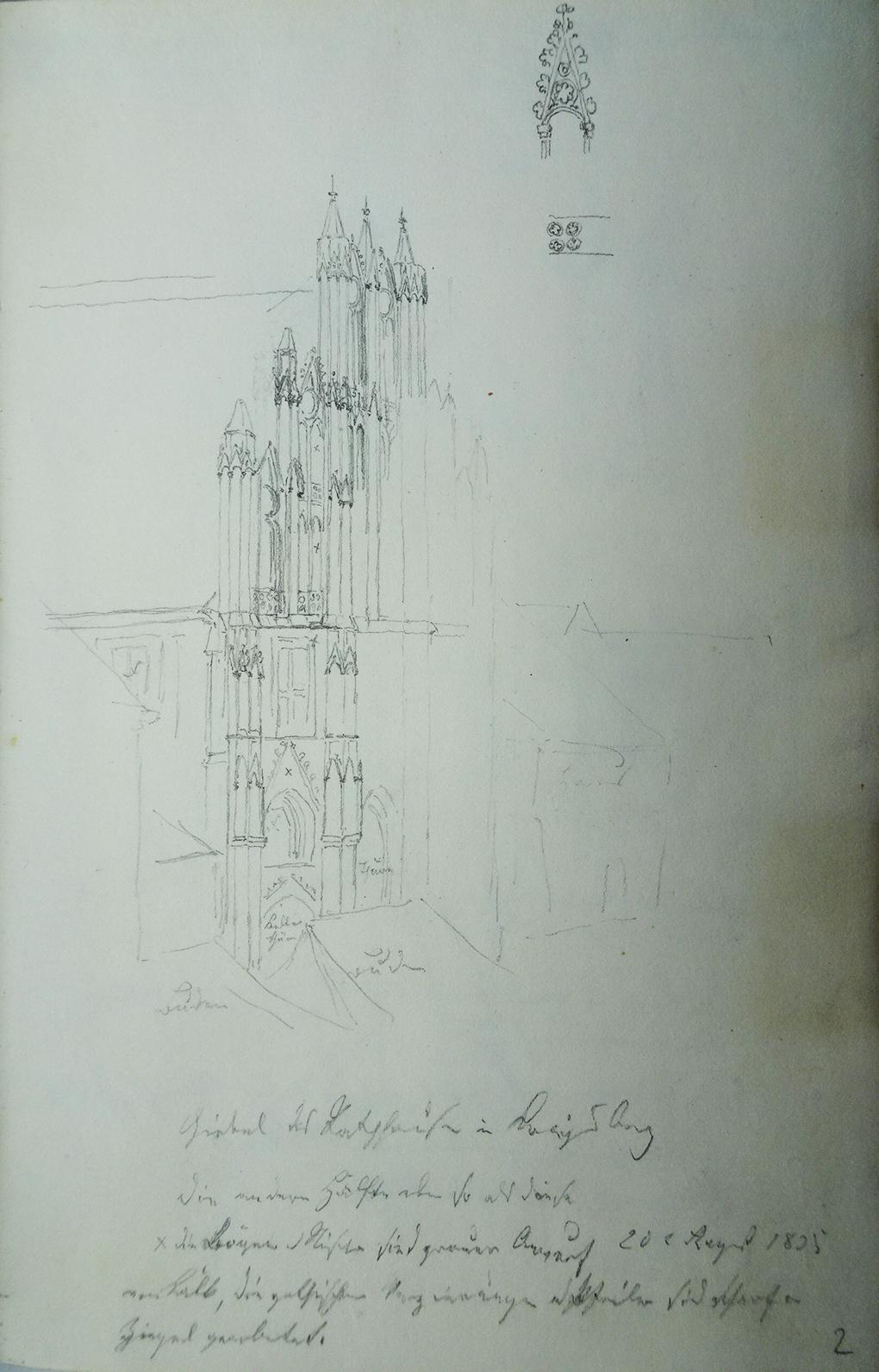 Ludwig Most, Widok fasady ratusza w Chojnie, 20 sierpnia 1835, papier czerpany, ołówek, Szkicownik VII, karta 2, Muzeum Narodowe w Szczecinie