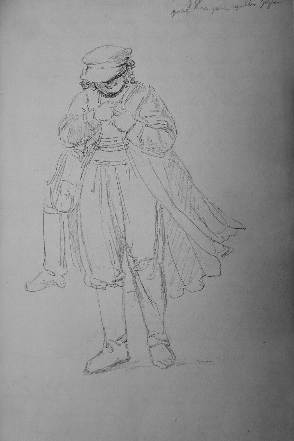Ludwig Most, Żydowski chłopiec, 21 sierpnia 1835, papier czerpany, ołówek, Szkicownik VII, karta 3, Muzeum Narodowe w Szczecinie