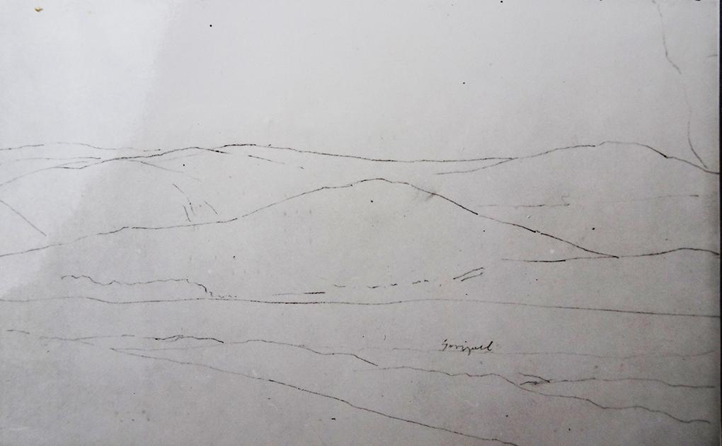 Ludwig Most, Pejzaż z Sudetów, sierpień 1835, ołówek, papier czerpany welinowy, Szkicownik nr VII, karta 12 verso, Muzeum Narodowe w Szczecinie