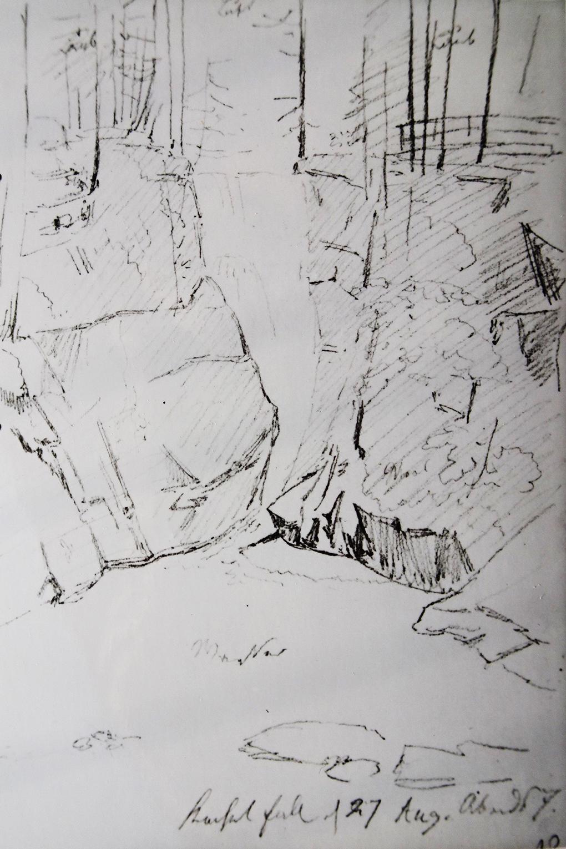 Ludwig Most, Wodospad Szklarki, 27.08.1835, ołówek, papier czerpany welinowy, Szkicownik nr VII, karta 10, Muzeum Narodowe w Szczecinie