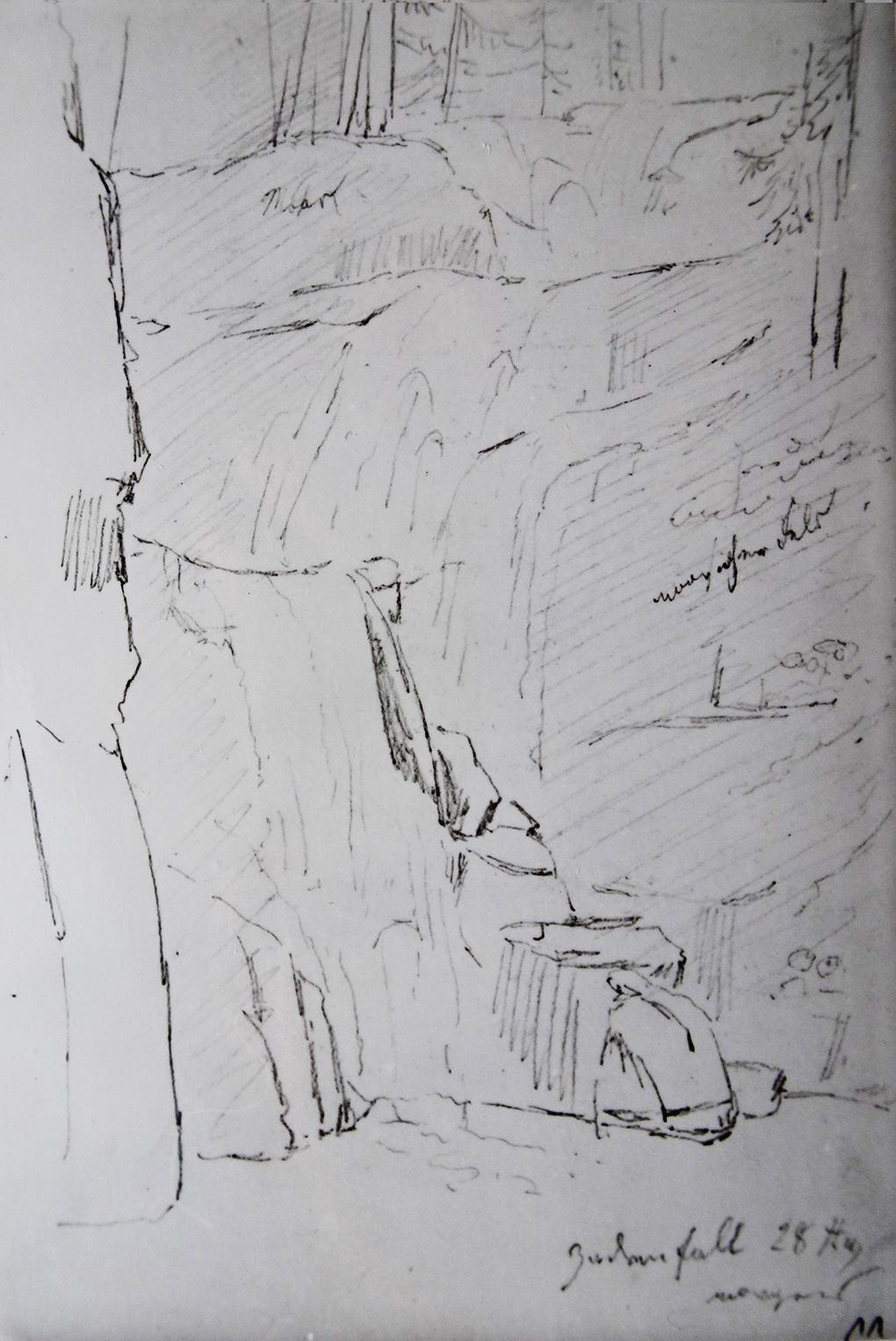 Ludwig Most, Wodospad Kamieńczyka, 28.08.1835, ołówek, papier czerpany welinowy, Szkicownik nr VII, karta 11, Muzeum Narodowe w Szczecinie