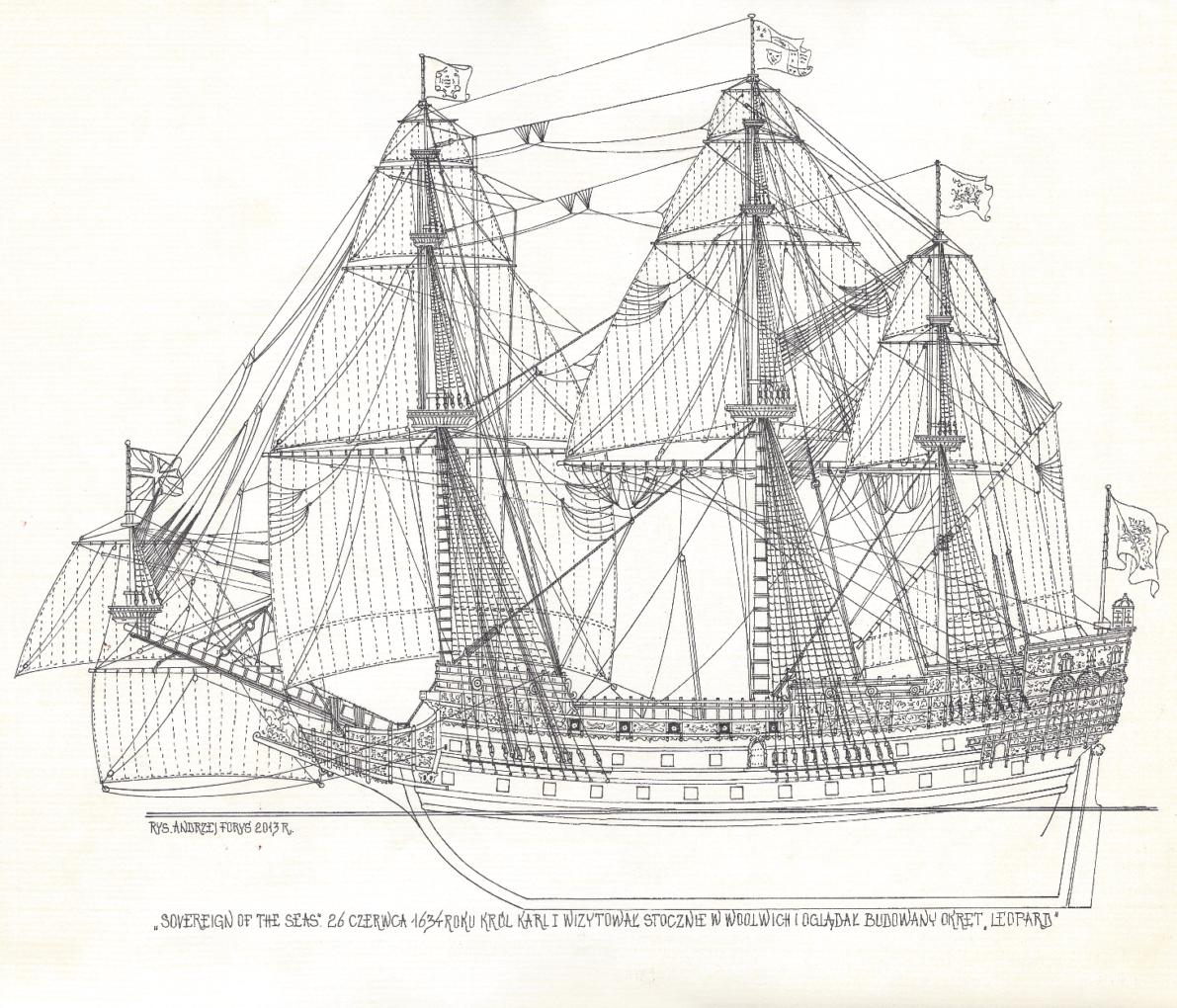 Zamiłowanie do rysunku pozostało na zawsze. Andrzej Foryś, Sovereign of the Seas, 26 czerwca 1694 roku król Karl I wizytował stocznie Voolwich i oglądał budowany okręt Leopard, 2013, rysunek na papierze. Z archiwum artysty