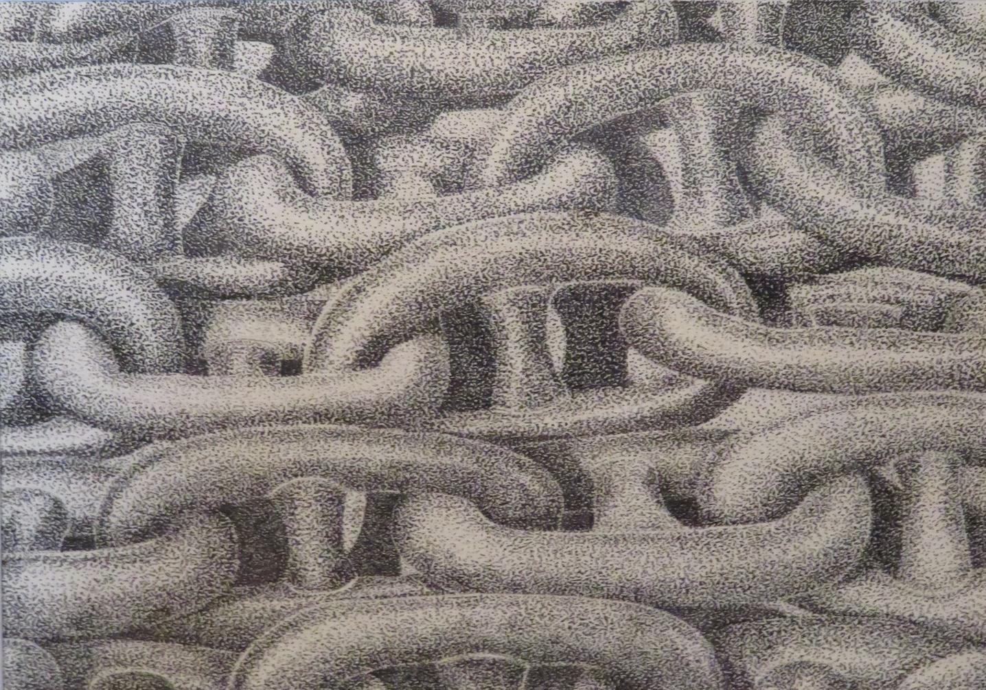 Jeden z rysunków ołowiem Andrzeja Forysia z motywem stoczniowym
