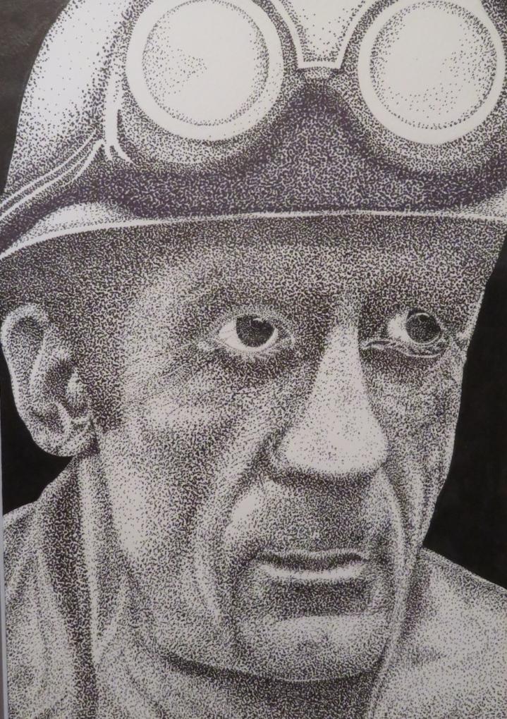 Jeden z rysunków Andrzeja Forysia przedstawiający szczecińskiego stoczniowca