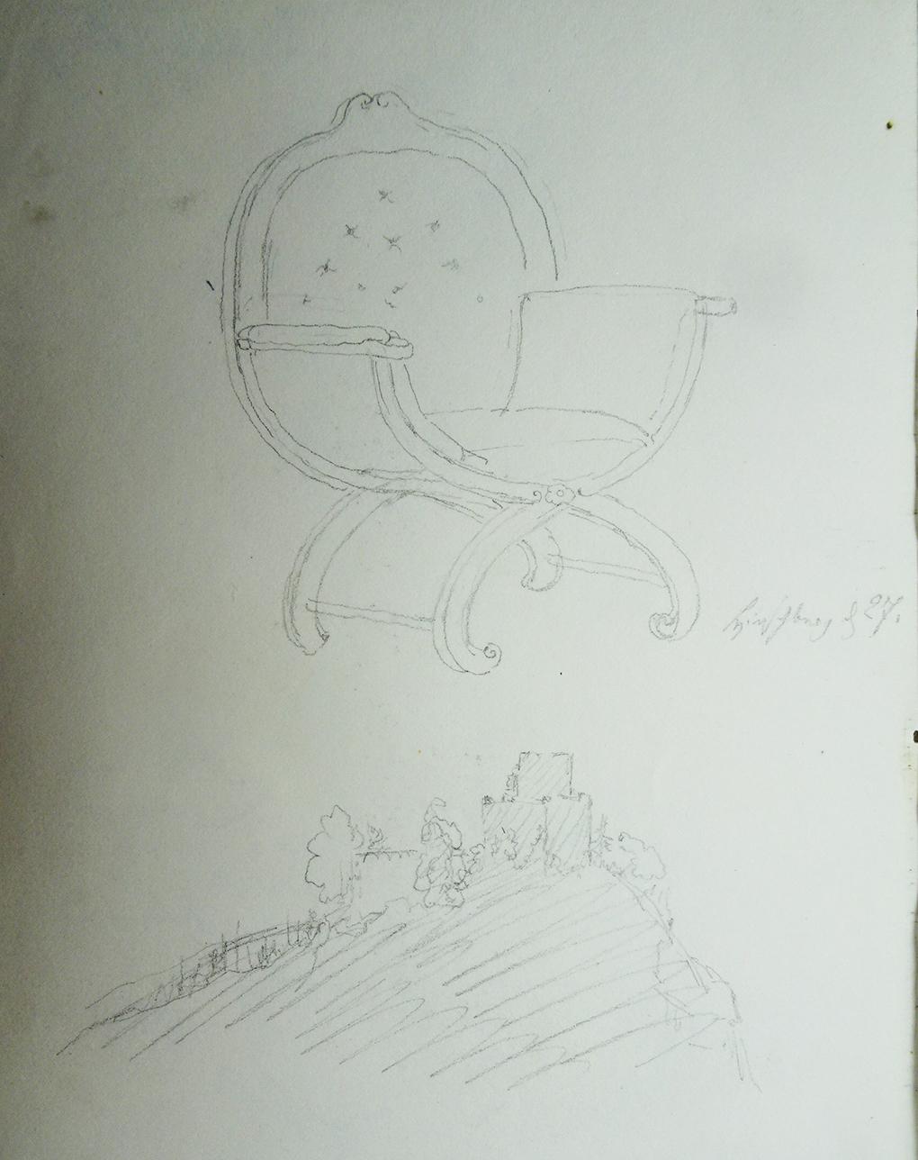 Ludwig Most, Widok zamku Chojnik, około 27.08.1835, ołówek, papier czerpany, Szkicownik nr VII, karta 8 verso, Muzeum Narodowe w Szczecinie
