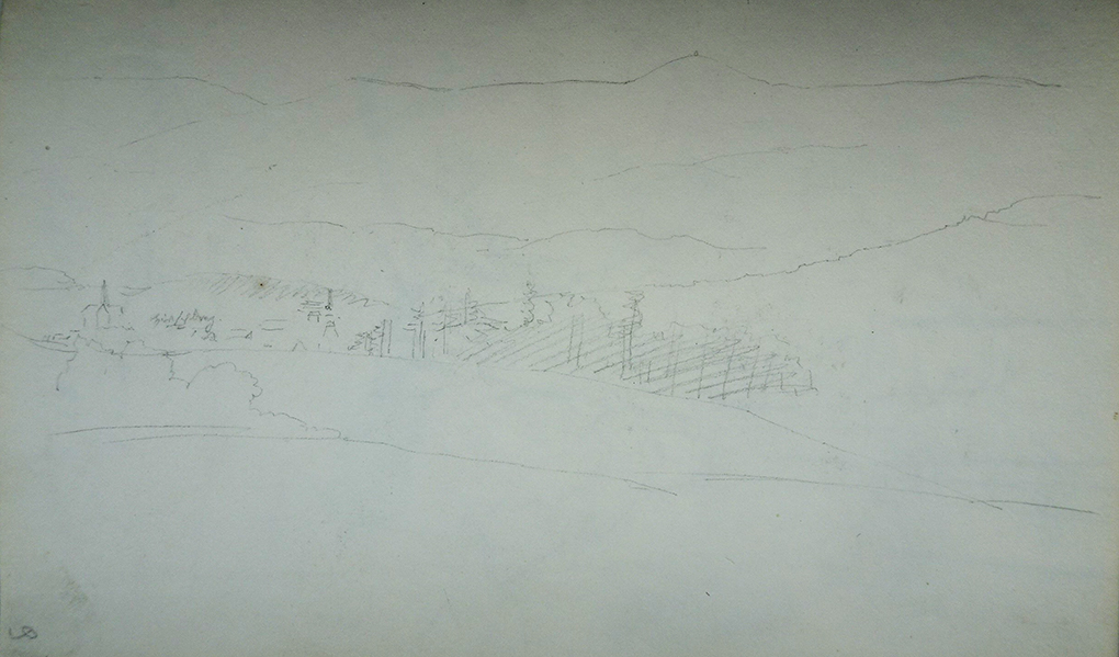 Ludwig Most, Panorama Karkonoszy z sylwetką Jeleniej Góry, 27.08.1835, ołówek, papier czerpany, Szkicownik nr VII, karta 9, Muzeum Narodowe w Szczecinie