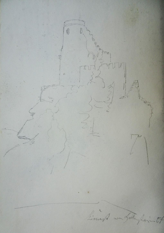 Ludwig Most, Zamek Chojnik, 27.08.1835, ołówek, papier czerpany, Szkicownik nr VII, karta 9 verso, Muzeum Narodowe w Szczecinie