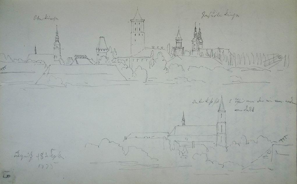 Ludwig Most, Panorama Legnicy, 8.09.1835, ołówek, papier czerpany, Szkicownik nr VII, karta 19, Muzeum Narodowe w Szczecinie
