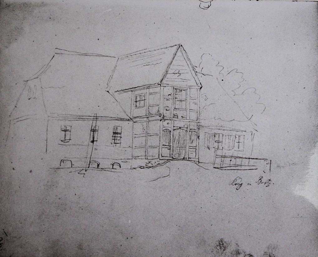 Ludwig Most, Wiejska gospoda w Britz, rysunek nie datowany, 1829, ołówek, papier czerpany welinowy, Szkicownik nr 2, karta 33, Muzeum Narodowe w Szczecinie