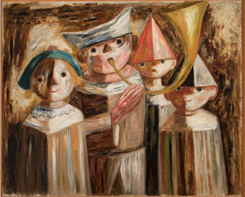 Tadeusz Makowski (1882-1932), Czworo dzieci z trąbą, 1929, olej na płótnie, 81 x100 cm, ZBIORY SZTUKI NOWOCZESNEJ MNW, /https://cyfrowe.mnw.art.pl/pl/katalog/514763