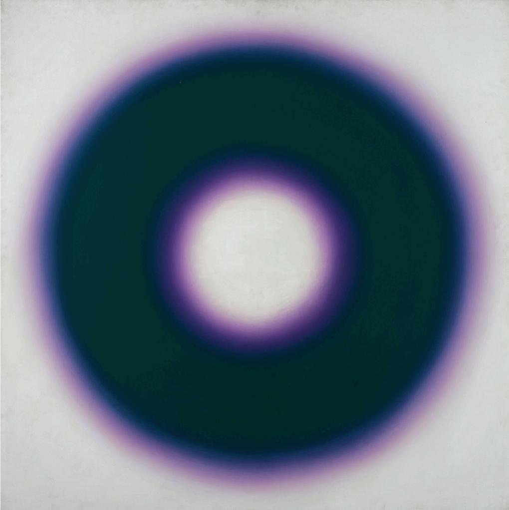 Wojciech Fangor (1922-2015), E10, 1966, olej na płótnie, 127,5 x 127 cm, ZBIORY SZTUKI NOWOCZESNEJ MNW, https://cyfrowe.mnw.art.pl/pl/katalog/511316