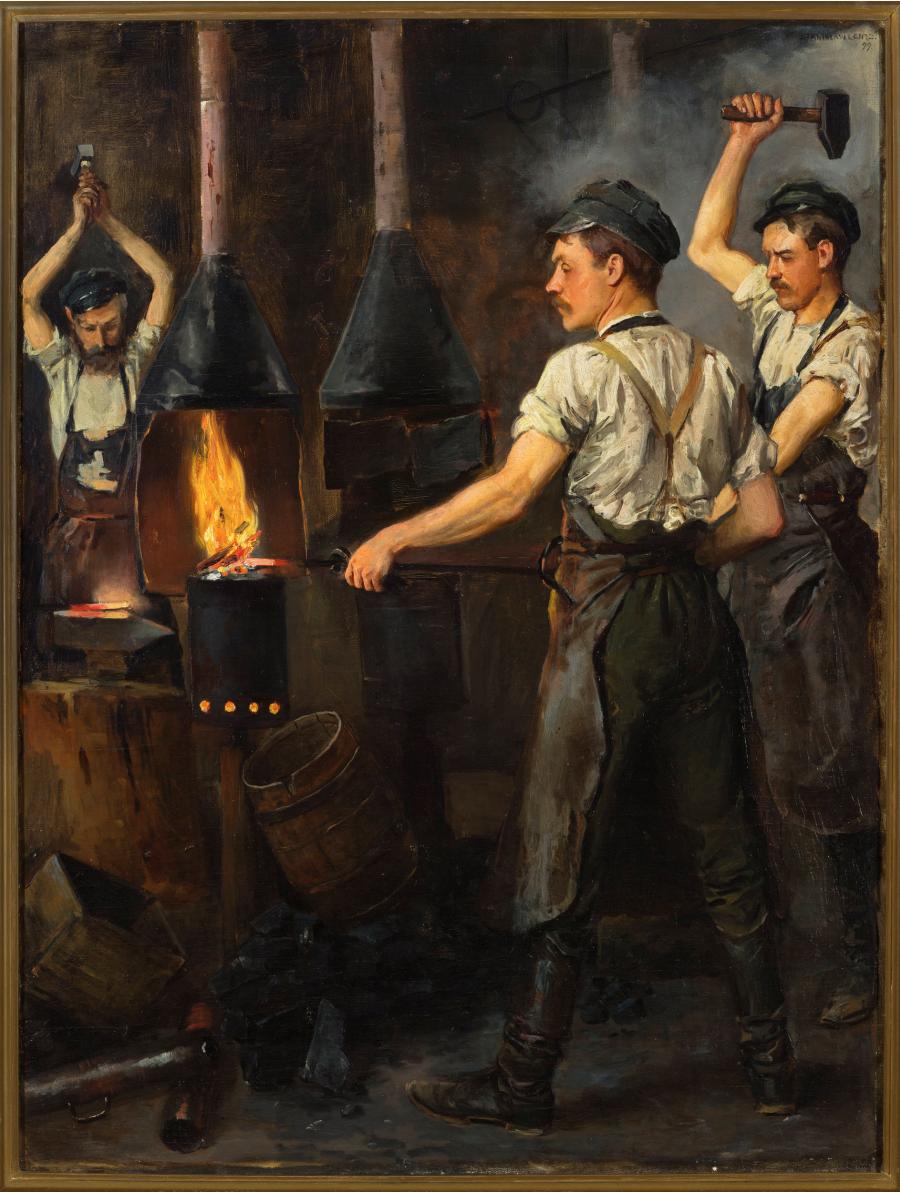 Stanisław Lentz (1861-1920), W kuźni, 1899, olej na płótnie, 100 x 66,5 cm, ZBIORY SZTUKI NOWOCZESNEJ MNW, https://cyfrowe.mnw.art.pl/pl/katalog/511032
